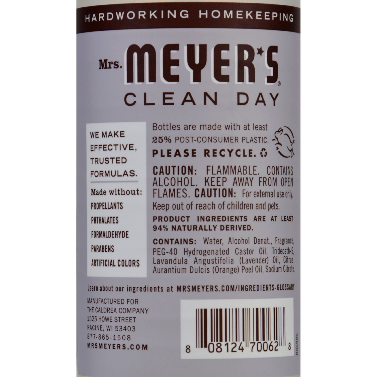 Mrs Meyers Clean Day Room Freshener - Lavender, 8 Fluid Ounce - 6 per case. by Mrs. Meyer's Clean Day (Image #2)