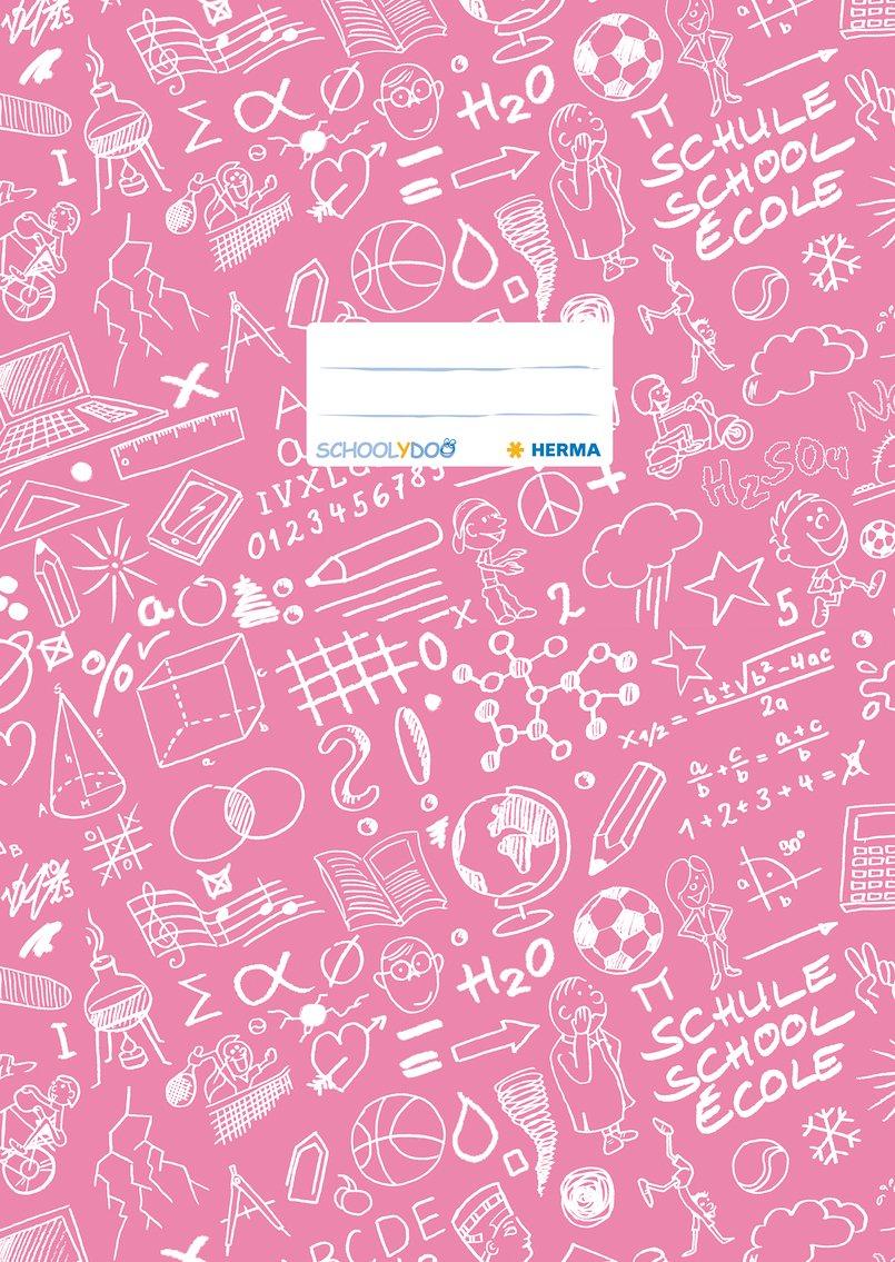 Herma 19423 Heftumschlag DIN A4SCHOOLYDOO, Kunststoff gemustert, rosa, 1 Heftschoner für Schulhefte
