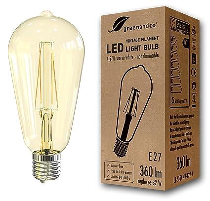 greenandco Bombilla de filamento LED Vintage E27 ST64 4.2W (corresponde a 32W) 360lm
