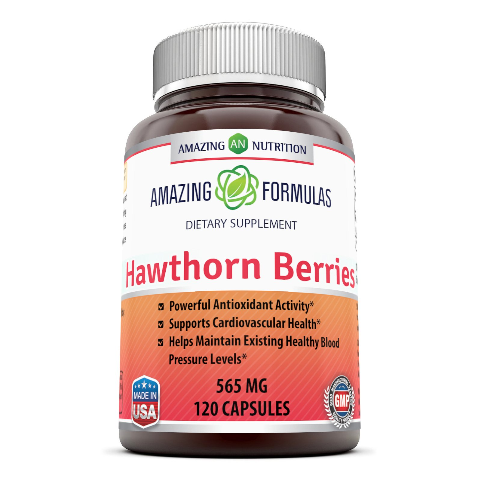 Amazing Formulas Hawthorn Berries 100% Pure Hawthorne Berry Extract * Powerful Anioxidant Activity * Supports Cardiovascular Health* 565mg Herb Capsules * 120 Capsules Per Bottle