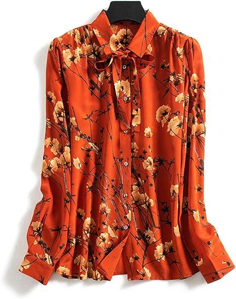 XCXDX Camisa con Estampado Naranja De Moda, Blusa con Lazo De Seda para Mujer, Top De Mangas Largas con Encanto: Amazon.es: Deportes y aire libre