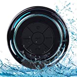 Bluetooth Shower Speakers, HAISSKY Portable Wireless Waterproof Speaker with FM Radio & Suction Cup, Pairs Easily to Your Bluetooth Devices - Phones, Tablets, Computer (Black & Blue)