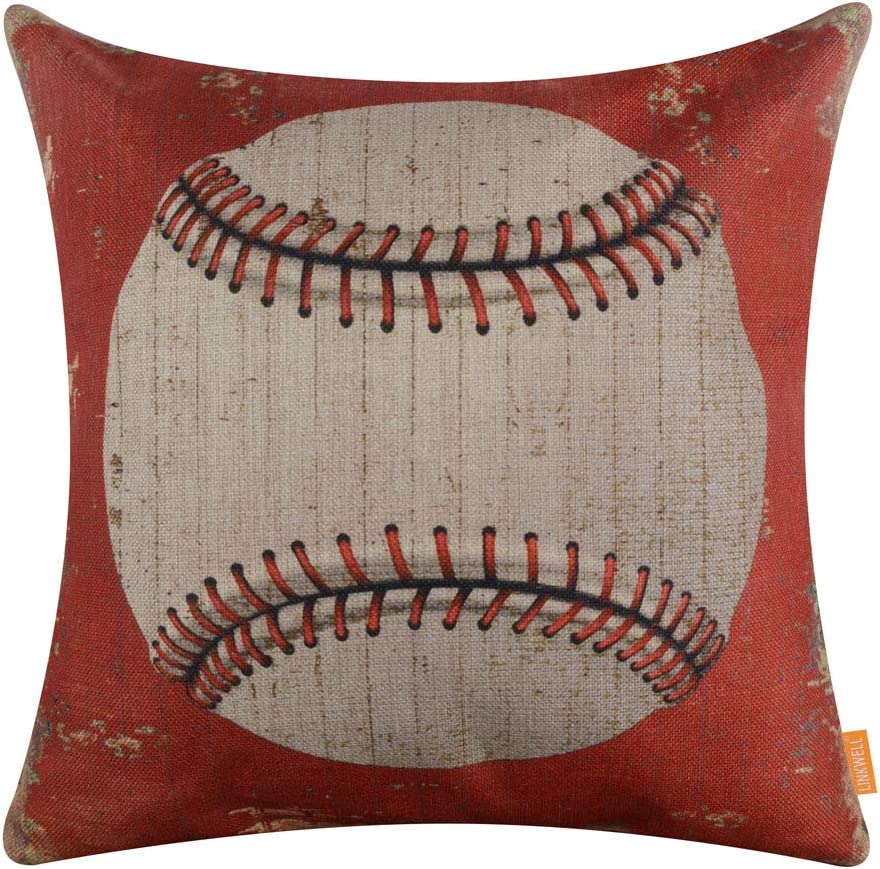 LINKWELL Vintage Baseball Pillow Cover 18x18 inch Decorative Cushion Case Accent Home Decoration Retro Sports Decor CC1355