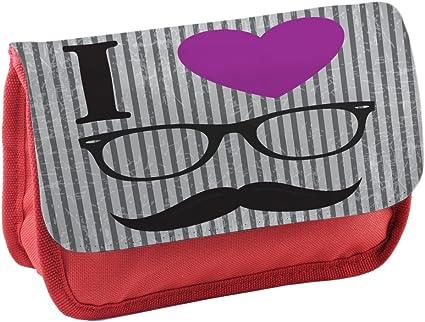 Hipster 10031, Bigote, Rojo Escuela Niños Sublimación Alta calidad Poliéster Estuche de lápices con Diseño Colorido. 21x13 cm.: Amazon.es: Oficina y papelería