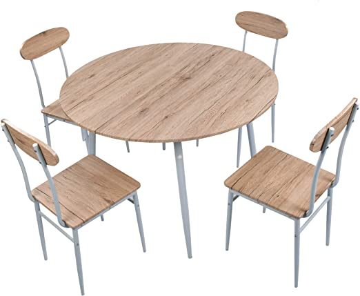 LUCKYERMORE - Juego de Mesa Redonda de Comedor de 43 Pulgadas, Mesa de Cocina y sillas de 5 Piezas para 4 mesas de Comedor, tamaño Compacto para Comedor pequeño: Amazon.es: Juguetes y juegos