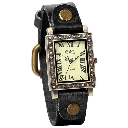 JewelryWe Relojes de Mujer Moda 2016, Negro Reloj de Pulsera Cuadrado de Estilo Retro Vintage Punk, Correa de Cuero Ultra Fino, Regalo Original para ...