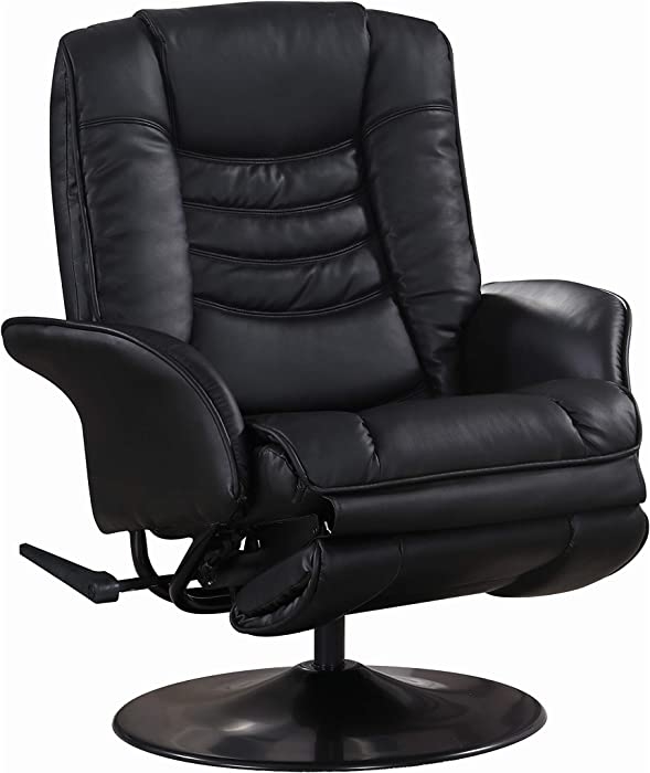Leatherette Swivel Recliner Black