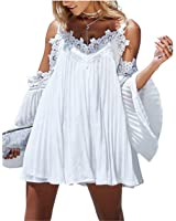 Eloise Isabel Fashion White beach dress mulheres moda rendas de croché patchwork alças flare luva plissadas