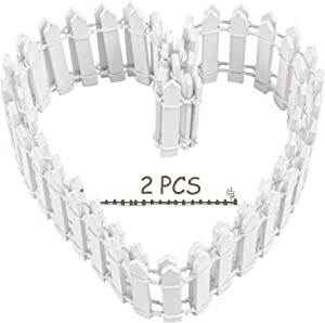 Framendino, 2 Pack White Miniature Fairy Garden Ornament Trim Fence Wooden Succulent Miniature Fence for DIY Crafts Dollhouse Accessories 40 Inch