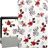 "Case for All-New F i r e HD 10 Tablet - Auorld Premium PU Leather Slim Fit Smart Stand Cover with Auto Wake/Sleep for F i r e HD 10.1"" Tablet (7th Generation, 2017 Release), Rose Flower"