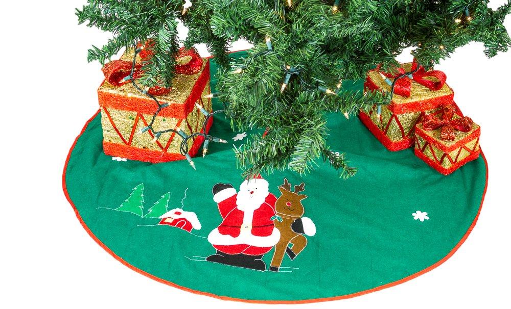 amazoncom imperial home christmas tree skirt 36 green with santa home kitchen - Christmas Tree Santa