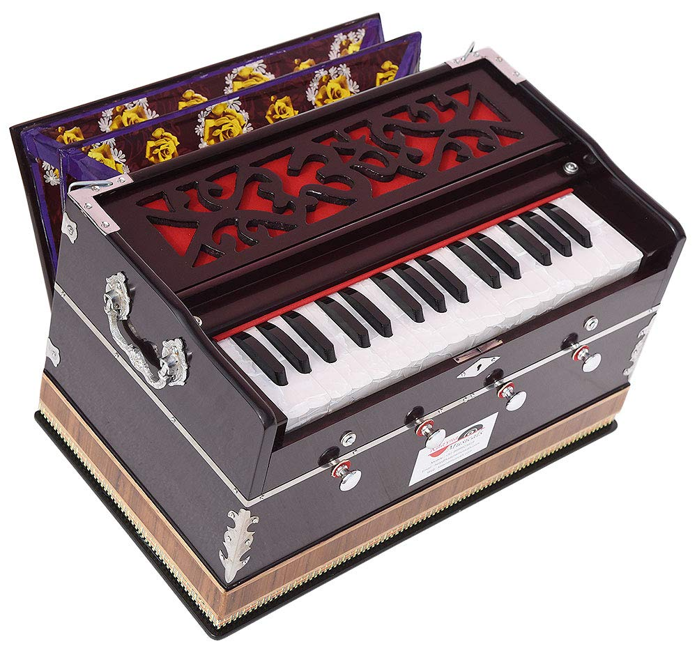 OM Harmonium Mini Magic By Kaayna Musicals, 4 Stop- 2 Main & 2 Drone, 2¾ Octave, Dark Colour, Gig Bag, Bass/Male- 440 Hz, Best for Yoga, Bhajan, Kirtan, Shruti, Mantra, Meditation, Chant, etc. by Kaayna Musicals