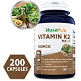 Best Vitamin K2 MK7 100mcg 200 Caps (Non-GMO & Gluten Free) - Helps Utilize Calcium for Bones - Supports Healthy Skeletal Muscle Functions - Made in USA - 100% Money Back Guarantee!