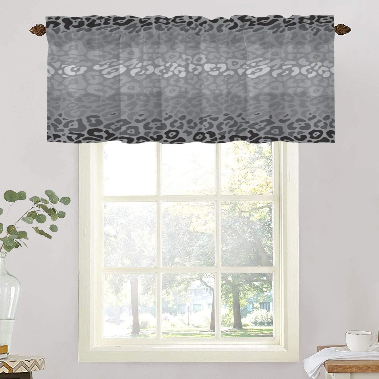 BaoNews Animal Black Cat Kitchen Valances Window Curtain, Gray Black Leopard Animal Print Pattern Blackout Decoration Small Window Valances Curtains Drapes for Kitchen Bedroom, 52 X 18 Inch
