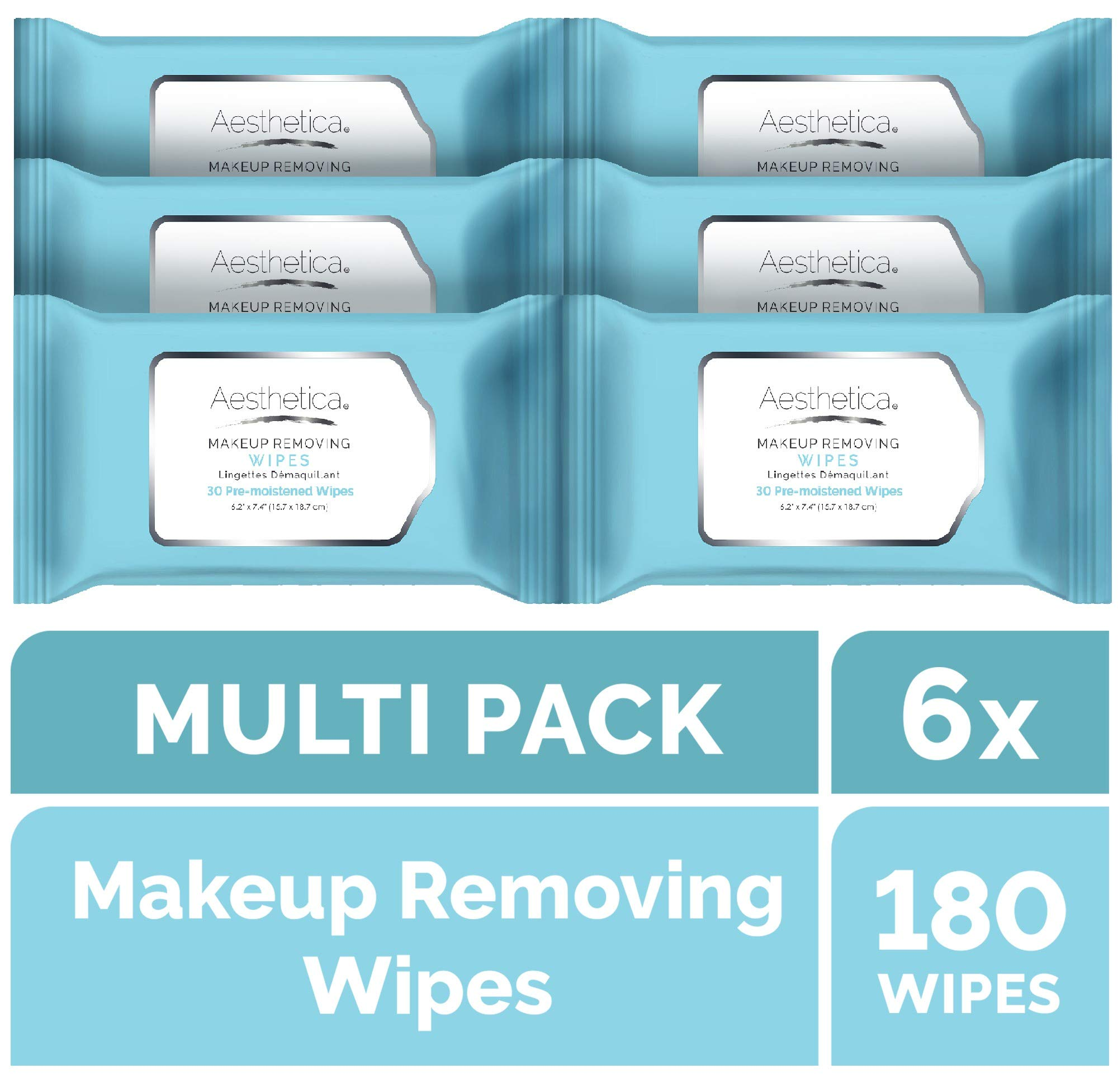 Aesthetica Makeup Removing Wipes - Facial & Eye Makeup Remover Wipes - 6 Pack Bulk (180 Wipes Total) Hypoallergenic & Dermatologist Tested - Oil & Fragrance Free - Made in USA by Aesthetica