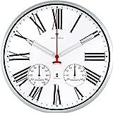 ottostyle.jp 電波掛け時計 掛時計 【ホワイト/白】 温度計/湿度計付き ローマ数字 アルミフレーム 見やすいシンプルな文字盤 連続秒針 サイレントムーブ 電波時計
