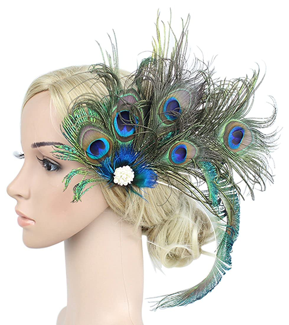 Amazon.com  Z X Women Fascinator Peacock Feather Headwear For Christmas  Party With Hair Clip  Home   Kitchen 81e6754839d