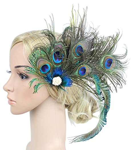 1636d43cb2f43 Amazon.com  Z X Women Fascinator Peacock Feather Headwear For Christmas  Party With Hair Clip  Home   Kitchen