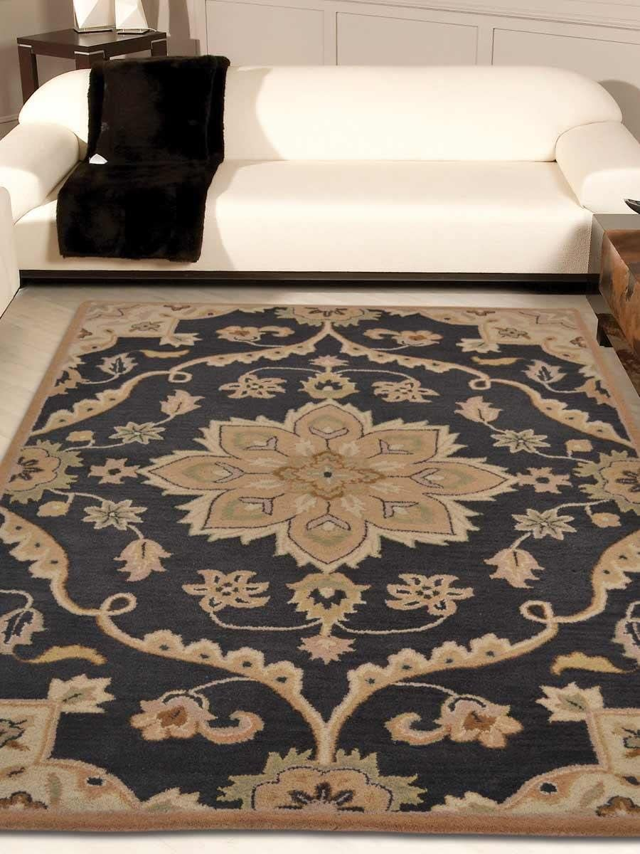 Rugsotic Carpets Hand Tufted Wool 9 x12 Area Rug Floral Charcoal K00687
