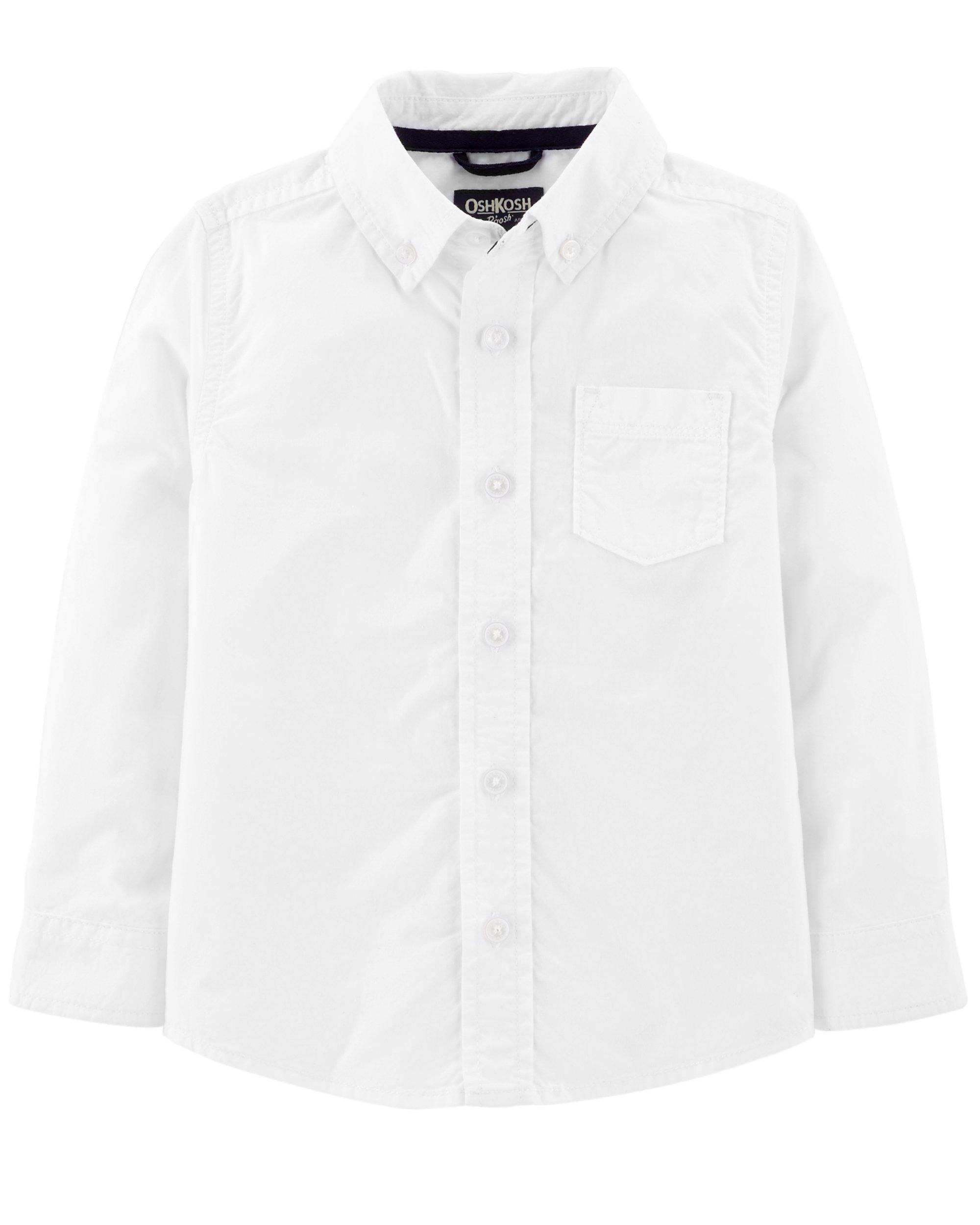 Osh Kosh Boys' Toddler Button-Front Shirt, White, 3T