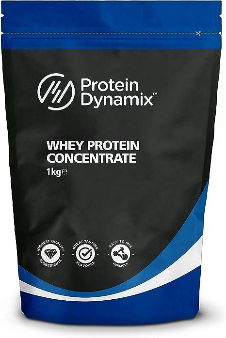 Protein Dynamix Calidad premium 1 kg Proteína de suero concentrada, Batido de fresa, Polvo WPC80 Bolsa, 1kg Strawberry Milkshake Whey Protein ...