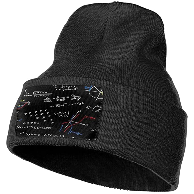 YOOJPC-6 Unisex Math Equation Beanie Skull Caps Knit Hat for Winter Hats  Black a0007789d47b