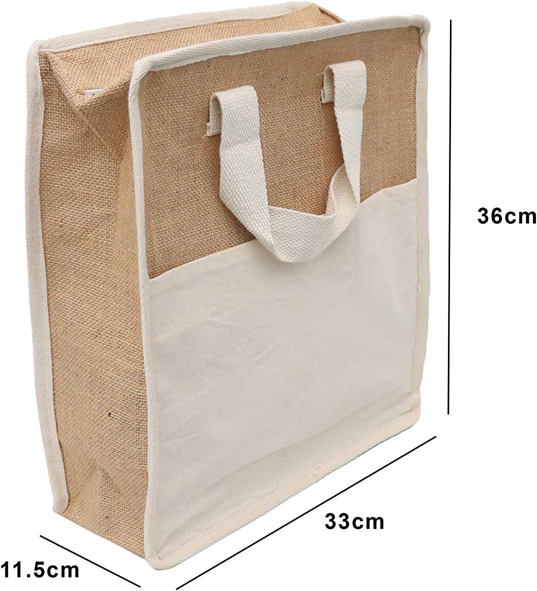 Bolsas de yute de arpillera – bolsas de arpillera natural con asas de yute – bolsas reutilizables – bolsa de compra/bolsa de comestibles/bolsa de regalo, tela, marrón, 36*33*11.5