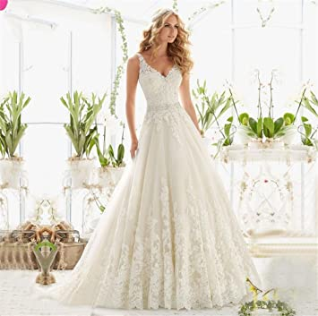 HAPPYMOOD Vestido de novia de la mujer Elegante Vestidos de novia Desgaste de la boda Hueco