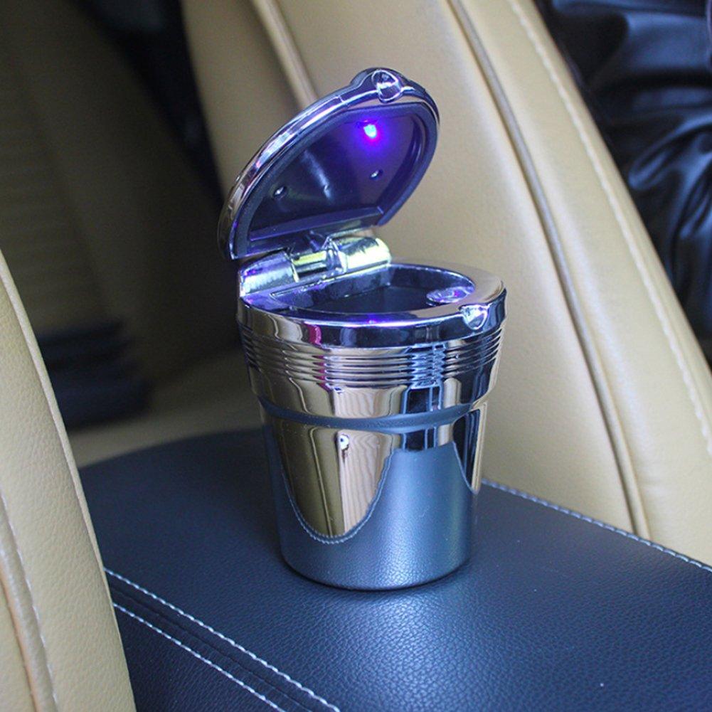 metallo 7.5cm x 6cm x 9cm Silver Quanjucheer Car LED posacenere auto viaggi sigaretta Ash Titolare tazza portatile di vassoio