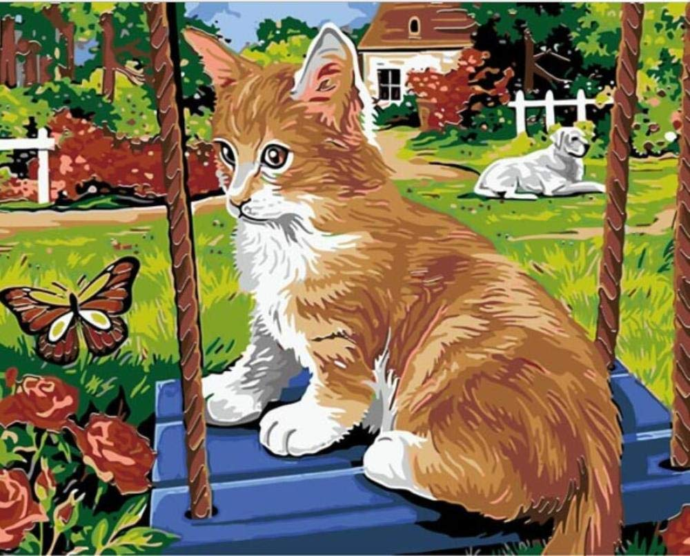 DIY Pintura Al Óleo Pintura Por Número Kit - Gato amarillo animal ...