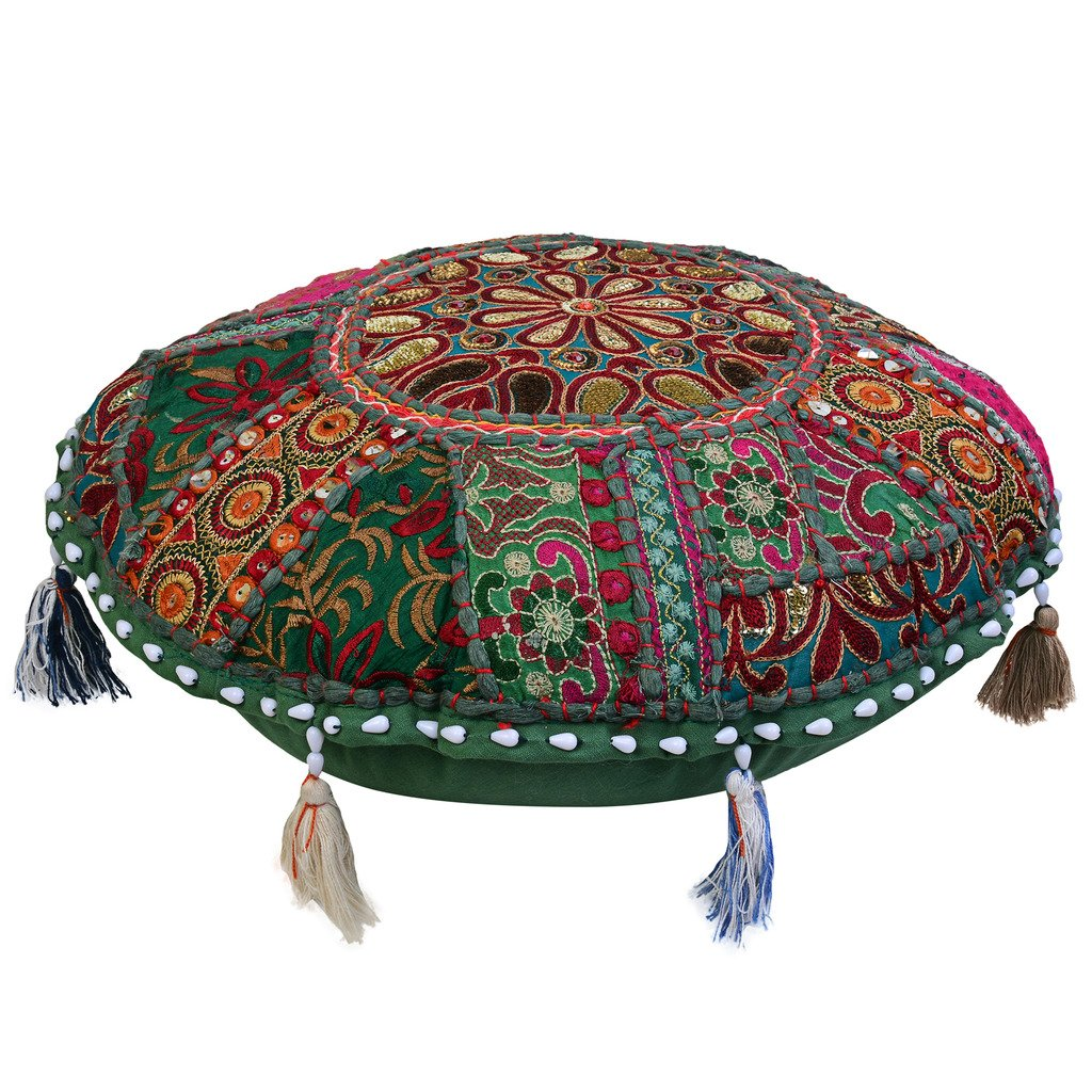 Stylo Culture Round Floor Cushion Cover Cotton Ethnic Footstool Patchwork Embroidered Decor 18 Ground Stool Floor Lounge Seat Pouf Cover Throw SC-FCUSH00010