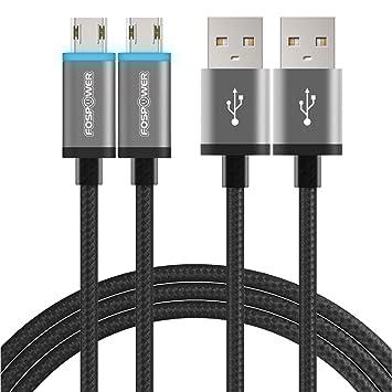 FosPower - Cable micro USB (2 metros, 2 m, cable de carga largo