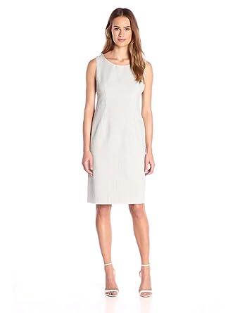 Kasper Women&39s Pinstripe Seersucker Dress White/Black 10 at ...