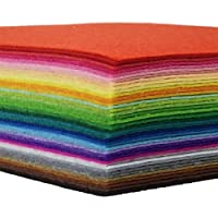 flic-flac 42pcs Felt Fabric Sheets 1mm Assorted Color Felt Pack DIY Craft Sewing Squares Nonwoven Patchwork