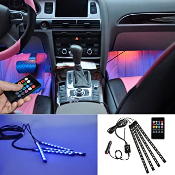brtlx led voiture clairage intrieur atmosphre dcoratif rvb bande lumire kit 12 v 4 15