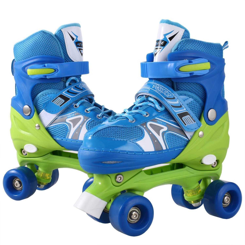 Asatr Unisex Children PU Wheel PP Material Indoor Outdoor Girls Boys Tracer Adjustable Double Row Roller Skate (US Stock)