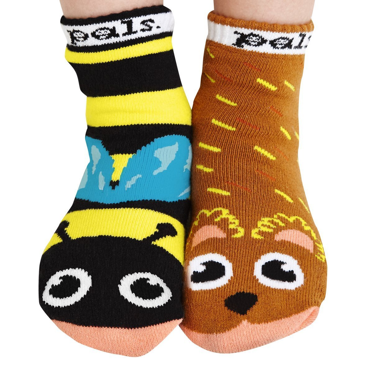 Bear and Bee Mismatched Animal Toddler Kids Friends Non Slip Socks PS-5
