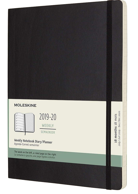 Moleskine 2019-20 Weekly - Agenda Cuaderno Semanal de 18 Meses 2019/2020, Negro, Tamaño Extra Grande 19 x 25 cm, 208 Páginas