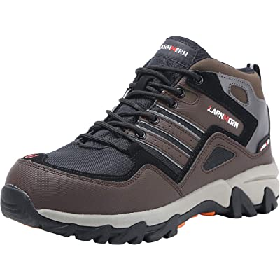 LARNMERN Steel Toe Shoes Men, Work Safety Construction Shoe, Reflective Strip Lightweight Puncture Proof Footwear LM1609 (8.5, Dark Brown): Shoes
