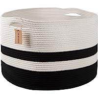 "NUMYTON XXXL Large Cotton Rope Laundry Basket 22"" x22""x 14"" Woven Basket,Toy Storage Basket, Blankets Basket,Nursery Hamper, White Black"