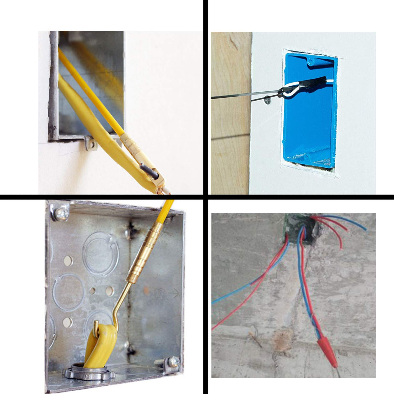 33' Wire Noodler Fiberglass Cable Wire Running Rod Coaxial Electrical Connectable Fish Tape Pull Kit With Hook And Hole Kit In Transparent Tube, Yellow by WXTOOLS (Image #3)