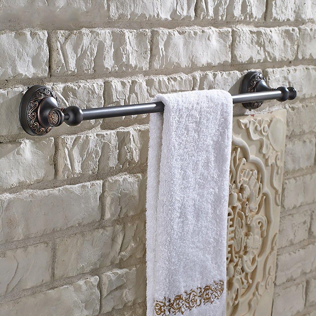 タオルラック壁掛けタオルレールビンテージ銅シングルタオルレールキッチンバスルームミニマルタオルシェルフブラック61.5CM B07DVGZPB7