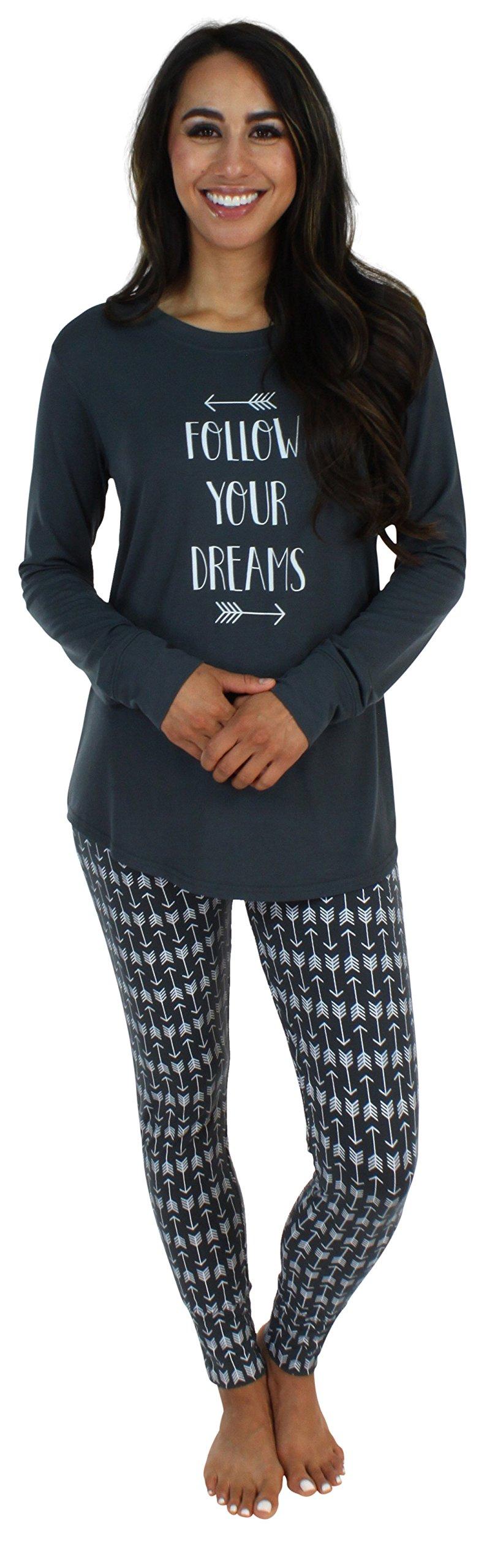 Sleepyheads Women's Sleepwear Knit Longsleeve Top and Leggings Pajamas PJ Set-Arrows (SH1140-4094-MED)