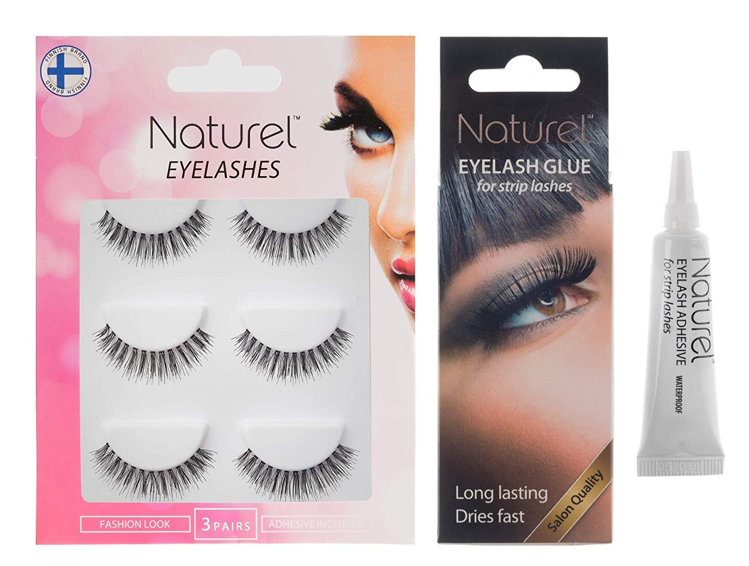 027c94b6479 Amazon.com : Fake eyelashes set with glue, False lashes, Eyelash adhesive,  Natural eyelashes, False eyelashes, Lightweight multipack, 3 set : Beauty