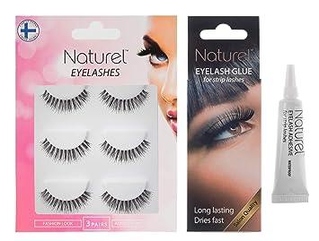 1a7c83eec1b Amazon.com : Fake eyelashes set with glue, False lashes, Eyelash adhesive,  Natural eyelashes, False eyelashes, Lightweight multipack, 3 set : Beauty