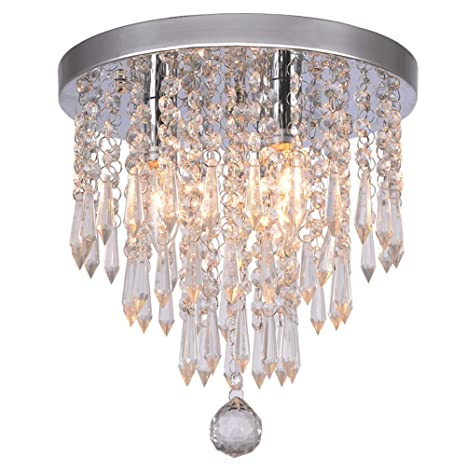 Hile Lighting KU300107 Crystal Chandeliers Flush Mount Ceiling Light ...