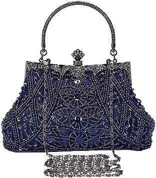 Selighting Cartera De Mano Fiesta Vintage Clutch Mujer Elegante Bolso De Noche Bolsos De Embrague Con Cuentas Para Fiesta Cóctel Ceremonia Boda Novia Azul Amazon Es Zapatos Y Complementos