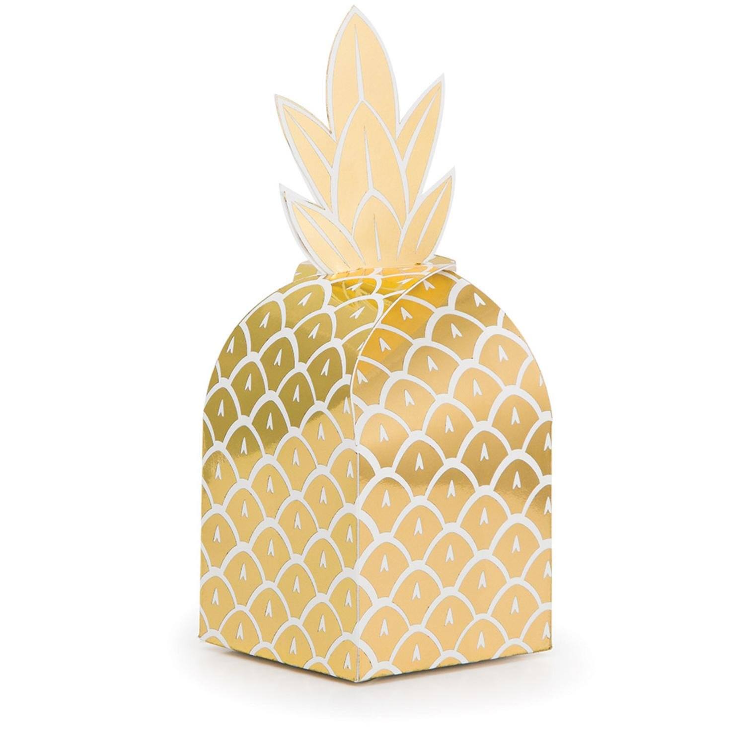 Party Central Club Pack of 48 Glittering Gold and Foil Stamped Pineapple Decorative Favor Boxes 10.5''