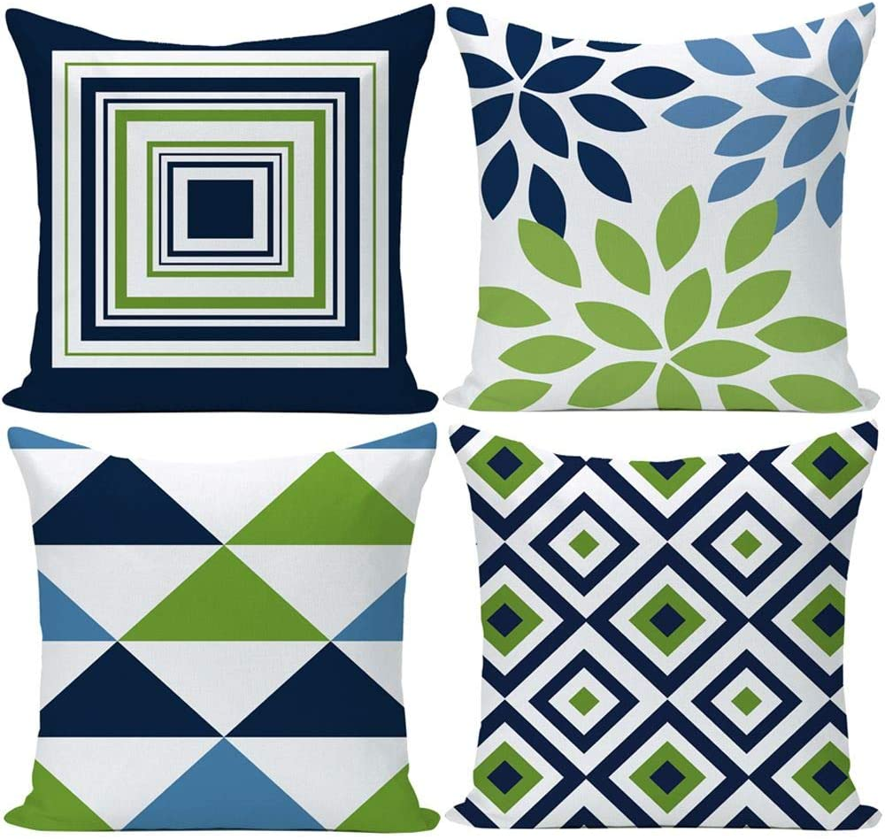 EZVING Navy Pear Green New Living Series Geometric Cotton Linen Indoor Outdoor Pillow Case Cushion Cover 18x18 Inch Set of 4 for Car Sofa Home Decor