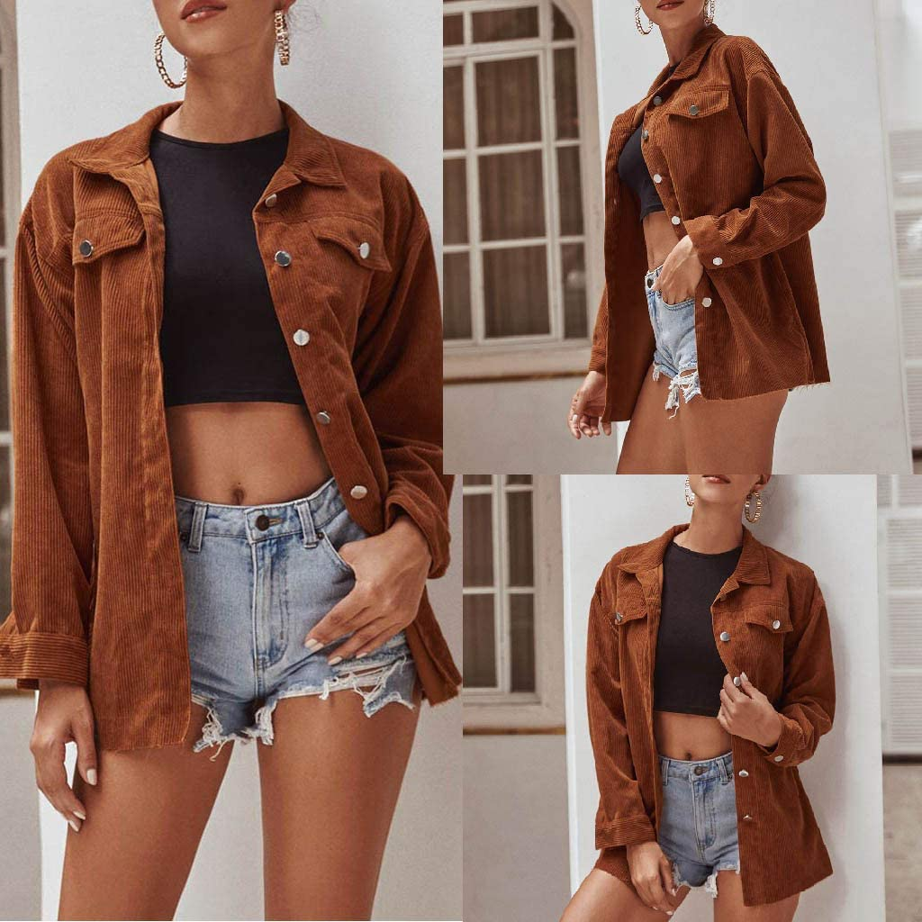 Eoeth Womens Retro Lapel Button Jacket Casual Cardigan Coat Tunic Outwear Solid Tops Shirts